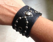 Leather Cuff Bracelet, Wide Cuff Bracelet, Leather studded cuff bracelet, Women's Leather Bracelet