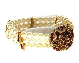 Florenza Ruby Rhinestone and Pearl Bracelet