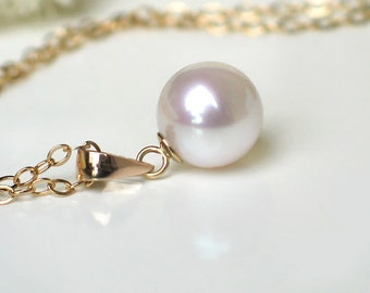 White Pearl Pendant Necklace | 8mm Freshwater Pearl | 14K Solid Gold - 14k Gold Filled Chain | June Birthstone | Everyday Pearl Necklace