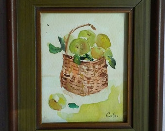 Granny Smith Apples Vintage Framed Watercolor Fall Decor