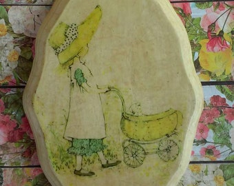 Vintage Holly Hobbie Style Plaster Plaque Decoupage Girl with Stroller