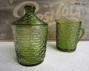 Vintage Avocado Green Glass Sugar and Creamer Soreno Ripple by Anchor Hocking