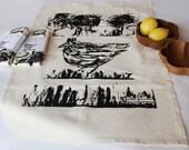 Tea Towel Art design, cotton tea towel kitchen, black hen dish towel design textil gift anagonzalezart