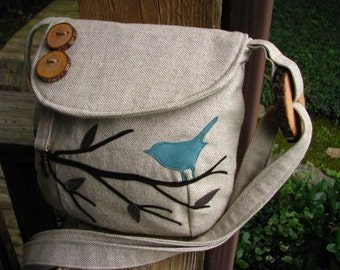 "Eco-Friendly  Purse, Bird Messenger,Bird Tote, Bird School Bag, Handmade, Bird Vegan Purse, 10"" by 7"""