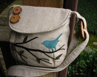 "Eco-Friendly  Purse, Canvas Tote, Bird Messenger,Bird Tote, Bird School Bag, Handmade, Bird Vegan Purse, 10"" by 7""9"