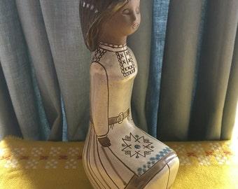 Vintage TEKT Russian Pottery Girl