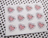 Valentine Stickers Heart Stickers One Inch Round Ses301a
