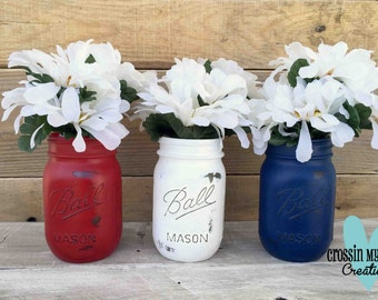 Painted Mason Jars - Set of 3 - Red, White & Blue