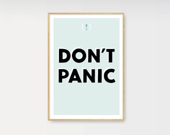 Typographic print poster Don't panic! Inspirational art typography blue home decor