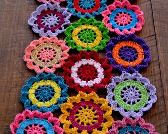 Handmade Crocheted Flower Table Runner Doily 29 inches by 11 inches