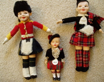 Three 1950s Scottish Dolls