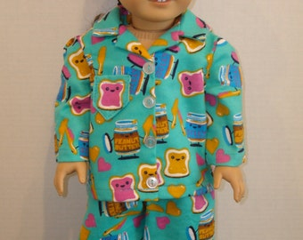 "18"" Doll Clothes/Peanut Butter & Jelly/Flannel pajamas and slippers/READY TO SHIP/4piece set fits 18"" girl doll"