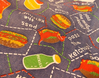 Vintage Food Fabric, Picnic Condiment Fabric, Hard to Find, Fabric by the Yard, Denim Hot Dog Mustard Relish