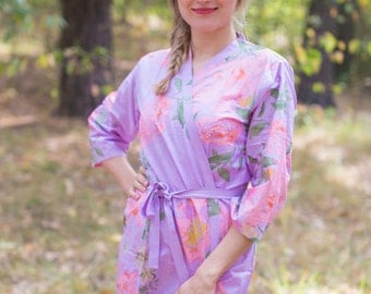 Lilac Pink Large Floral Blossoms Patterned Robe | Kimono Style getting ready robe for wedding day, bridal shower, dressing gown