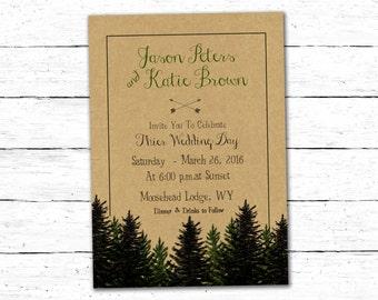 Woodland Wedding Invitation, Rustic Wedding Invitation Template, Rustic Wedding Invitation, Woodland Wedding Invitation Forest Wedding Card