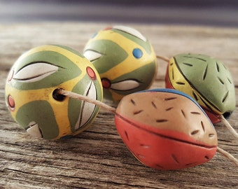 Cute Etched Line Polymer Clay Bead Set