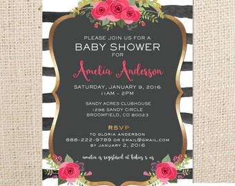 Baby Shower So Chic - Gold, Floral, Black and White Baby Shower Sprinkle Invitation (5x7) - Digital Card Design