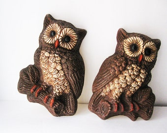 Owl Wall Hangings, Set of Two Woodland Owls