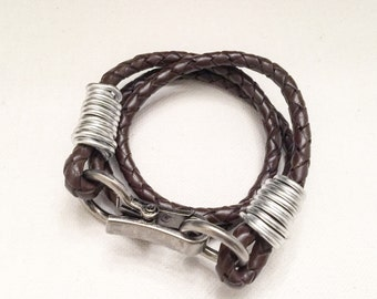 Brown Leather Braided Wrap Bracelet with Silver closure