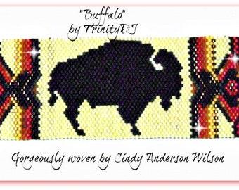 BP-PEY-119-2016-058 -  Buffalo - Peyote Stitch Bracelet PATTERN, Peyote Bracelet pattern, beaded bracelet