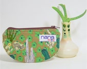 Nana handmade cactus print half-moon tiny zip