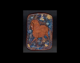 Horse Jewelry: The Big Red Horse Pin or Pendant. Original Ink Drawing on Polymer Clay. Chestnut Copper, Gold, Blue 4128