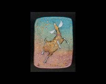 Dairy Goat Jewelry: The Joyful Nubian Pin or Pendant. Original Ink Drawing on Polymer Clay. Aqua Gold White Lavender Light Green Black 4215