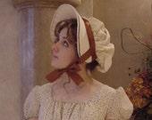 CUSTOM Regency 1800 Jane Austen Bonnet in natural Cotton Muslin