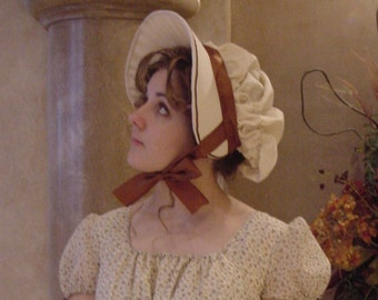 CUSTOM Regency 1800 Jane Austen Bonnet in natural Cotton Muslin