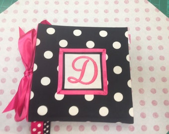 Monogrammed Recipe album-Black and White Polka Dot Your choice of  Trim and  Recipe cards