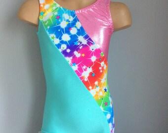 Gymnastics Dance Biketard with a Multicolored star Print Insert. Toddlers Girls Biketard. Dancewear. Size 2T through Girls 10
