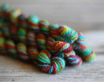 Mini Skeins - Hand Dyed Yarn - Hand Dyed Wool - Fingering Yarn - Knitting Yarn - Crochet Yarn - Sock Yarn - Rainbow -  Blue - Hexipuff