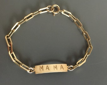 Customizeable Stamped reclaimed brass ID bracelet with gold link chain