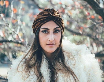 Gypsy Eyes 'Carolina' VELVET TURBAN in RUST