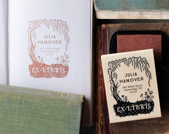 Custom Book Plate Stamp // Personalized Rubber Stamp // Willow