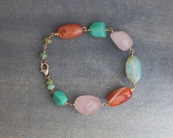 Stone's Throw 14k Gold Fill Blue Peruvian Opal, Orange Carnelian, Green Chrysoprase, Rose Quartz, Earthy Gemstone Bright Beaded Bracelet