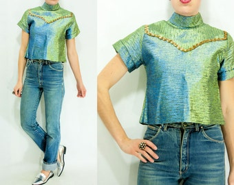 70's Vintage Iridescent Sparkly Sequin Western Blouse / Mock Neck Shirt / Turtleneck Crop Top