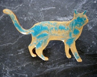 Abstract Cat Light gold & turquoise Cute Brooch Pin Badge Handmade Painted Wooden Pet Jewellery Jewelry