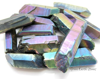 Titanium Quartz Laser Point Large (one) Quartz Point, Crystal Healing, Rock Hound, Reiki, Pagan, Crystals, Metaphysical Crystals,