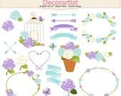 ON SALE Hydrangea clip art, summer garden flowers clip art, flower frames clip art, birdcage clip art, blue purple clip art