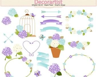 ON SALE Hydrangea clipart, summer garden flowers clipart, flower frames clipart, birdcage clipart, blue purple clipart