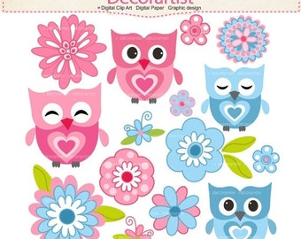 ON SALE Digital clip art owls, Owls and flowers, baby owls clip art, pink owls clip art, blue owls clip art, INSTANT Download