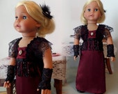 Doll Clothes - Victorian Evening Doll Gown, Black Headpiece, Gloves and Shoes - 18 Inch Doll Clothes Shown on Sophia Doll, Shoes - 1061