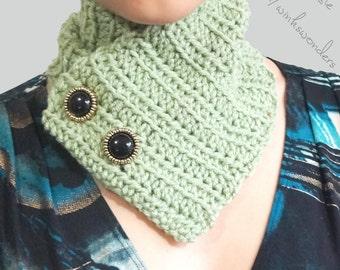 Sage Neck Warmer - Golden Color Buttons - Green Cowl - Sage Scarf - Light Green Neck Warmer - Green Scarf - Green Neckwarmer - Winterwear
