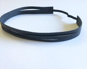 Headband- Black Sliced Leather Headband