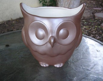 SALE 50% OFF Stoutly Wise Owl Candy Dish/Vase/Planter Cocoa Brown