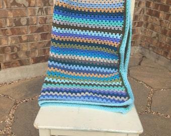 Hues of blue crochet granny stripe baby blanket