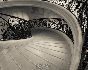 Paris Photograph Spiral Staircase Art Nouveau Architecture Photo France Black and White Fine Art Print par166