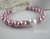 Kate- Dusty Pink Pearl Bracelet. Rose Pink and Ivory pearl bracelet. Swarovski Powder Rose Pearl Jewellery. Vintage Style Jewelry