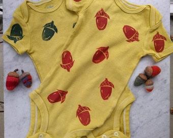 Hand dyed block printed acorn onesie